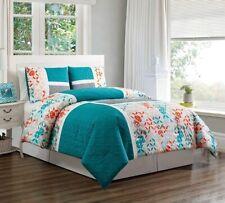 3 Pc Turquoise Blue Orange Grey Patchwork Down Alt Comforter Set Cal King Size