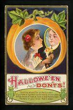 Halloween Postcard Jackson JA2-3 Woman mirror ghost owl embossed gold trim