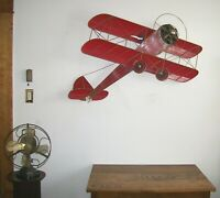 Vtg Signed 1987 Curtis Jere Red Airplane Bi-Plane Wall Sculpture Large Excellent