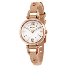 Fossil Georgia White Dial Beige Leather Ladies Watch ES3745
