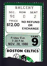 Nov 28 1980 NY Knicks @ Boston Celtics Ticket Larry Bird Celtics NBA Champs