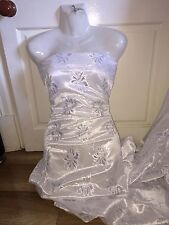 """5 MTR WHITE METALLIC LACE ON SATIN BRIDAL FABRIC...60"""" WIDE £19.99"""
