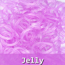 600 Rainbow Color Loom Bands Rubber Bracelet Kit Refill & 24 Clips Magenta Jelly
