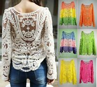 Semi Sheer Women Sleeve Embroidery Lace Crochet Sexy Tee T-Shirt Top Blouse Hot