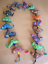 Birds on a String, 4 ft stuffed COTTON BIRDS wall hanging