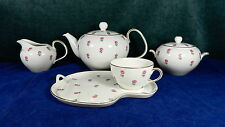 NORITAKE PATTERN #3090 TEA SET W/TEAPOT, SNACK TRAYS, CUPS, CREAMER & SUGAR BOWL