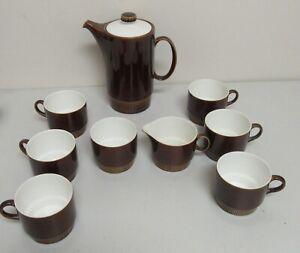 1960s Poole Pottery England Coffee/Tea Pot Set Chestnut Brown 9 pieces