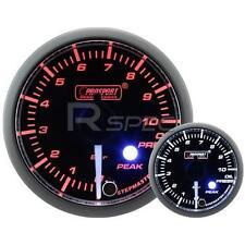 Prosport 52mm Transparente ámbar de coche blanco Manómetro de aceite Bar Pico advertencia