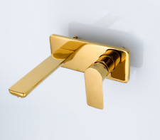 Square Gold Brass Bathtub Water Spout Faucet Vanity Basin Mixer Tap Wall Mount