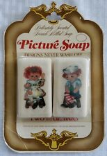 Set of 2 Soap Gems French Milled Picture Soap Raggedy Ann Andy 1 1/2 Ounce Bars