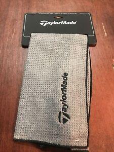 "TaylorMade Microfibre Cart Towel. Grey. 15""x24"". Webbing Loop. NEW With Tags"