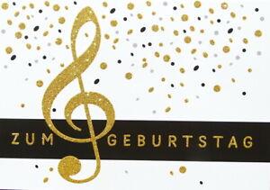 """Postkarte""""Zum Geburtstag Notenschlüssel""""Karte*gold*Glimmer 10x15 incl.Umschlag"""