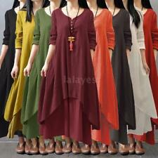 Vintage Women Boho Long Sleeve Cotton Linen Kaftan Maxi Irregular Dress NEW R8P0