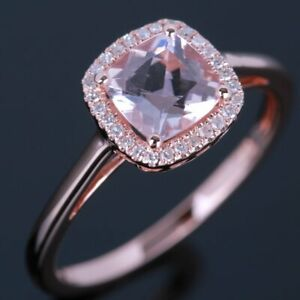 10K Rose Gold Morganite&Diamonds Halo Engagement Gemstone Ring 6mm Cushion