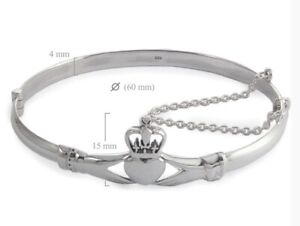 Claddagh Heart Hinged Bangle Bracelet 925 Solid Sterling Silver