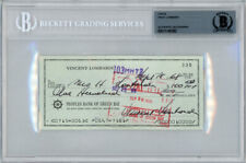 Vince Lombardi Autographed Signed 3x6 Check Green Bay Packers Beckett 11145382