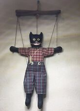 Vintage PriMitiVE FolK ArT BlaCk KiTTy CaT PuPPet Fishing OOAK  DoLL Marionette