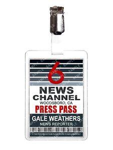 Scream Gale Weathers News Press Pass Cosplay Film Prop Comic Con Halloween