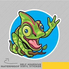 Happy Chameleon Waving Fun Funny Vinyl Sticker Decal Window Car Van Bike 2456