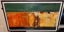 MID-CENTURY ABSTRACT ACRYLIC ON CANVAS PAINTING UNSIGED