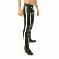 Men's Real Bikers Chaps Leather Chaps White Stripes Leather Gay Chaps Trousers