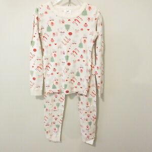 Girl's Hanna Andersson Pajama Set Size 10/140 Christmas Ivory Bunnies Trees  EUC