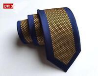 Tie Skinny Yellow Blue Patterned Handmade 100% Silk Wedding Mens Necktie
