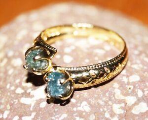 2.05CTS Blue Rough Diamond Engagement Ring,  Uncut Raw Diamond925 silver Ring