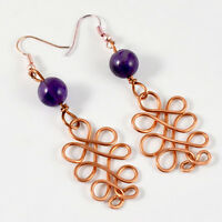 Natural Amethyst Crystal Beads Handmade Earrings Copper Wire Wrapped Gemstone