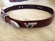 VT Snake Skin Genuine Leather Belt Brown with Virgina Tech Conchos Size 32