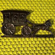 Vtg COLE Cast Aluminum Silhouette HORSE DRAWN ICE WAGON Outdoor WALL Plaque