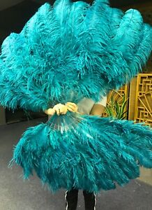 Teal XL 2 layers Ostrich Feather Fan  with Travel leather Bag