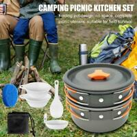 Portable Outdoor Camping Pot Cookware Set Hiking Travelling Picnic Tableware