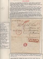 TRANS-ATLANTIC Ship Cover 1828 Leeds to Bethlehem PA TOO LATE FOR 1st DELIVERY