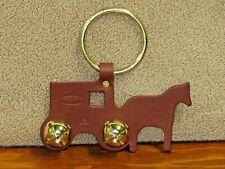 New Genuine Leather Horse & Buggy Brown Door Knob Jingle Bells Hanger Decorative