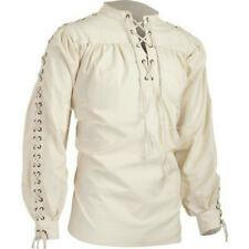 Men Medieval Shirt Top Fancy Dress Pirate Vintage Gothic Lace Up Bandage