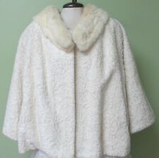 "LADIES VINTAGE 1960'S  OFF WHITE FAUX CURLY LAMB FUR JACKET/  60"" BUST"