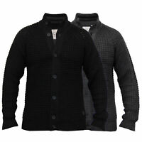 Mens Cable Knitted  Funnel Neck Cardigans Jumpers By Brave Soul