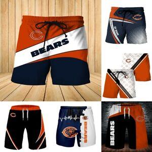 Chicago Bears Summer Beach Shorts GO BEARS Pocket Swim Trunks Casual Board Pants