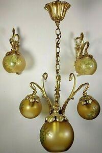 Antique Vintage French Art Nouveau Chandelier Bronze Cameo Glass Wall sconces