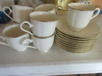 Lenox Special Pattern Set 8 Footed Cups & Saucers Ivory Gold Trim Made USA