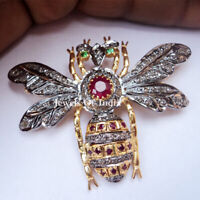 Natural Rose Cut Diamond Gold & 925 Sterling Silver Brooch & Pendant Jewelry