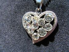 Clear Sparkling Crystal Rhinestone Heart Necklace Goddess Jade Jewelry