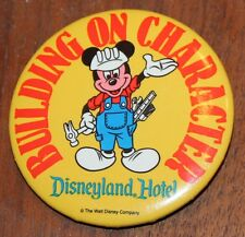 "NICE DISNEYLAND HOTEL BUILDING ON CHARACTER PIN BACK BUTTON 2 1/4"" CAST MEMBER"