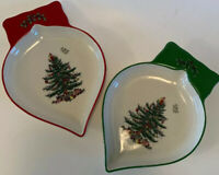 Spode Christmas Tree Design Ornament Shaped Dishes 2pc Dishwasher Microwave Safe