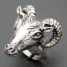 Vintage Silver Occult Baphomet Ram Aries Zodiac Sheep Goat Head Horn Biker Ring