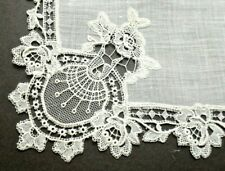Antique French Lace Linen Hanky Delicate Needle Lace Ornate Corner Medallions