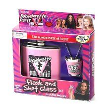 BACHELORETTE PARTY FLASK & SHOT GLASS ADULT NOVELTY PARTY FAVOR DECOR  6-5C
