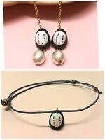 Spirited Away Kaonashi No face mask man Ghibli Pearl dangle earrings bracelets
