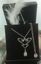 """GC NEW Guess Sterling Silver Agate  Heart Love Adjustable Pendant Necklace 16"""""""